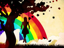 摇摆和彩虹的难看的东西女孩 免版税库存照片