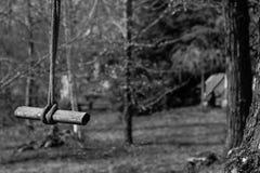 绳索摇摆和木头 免版税库存照片