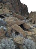 摇摆的冰砾和刷子在堡垒岩石国家公园 免版税库存照片