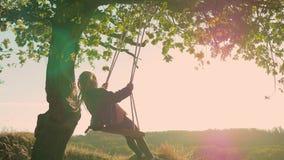 摇摆的愉快的儿童女孩在日落秋天 使用在自然步行的秋天的小孩 获得的小女孩乐趣  股票视频