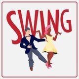 摇摆 舞蹈节日的海报 广告的飞行物或元素社会舞蹈的 舞会海报传染媒介模板 库存例证