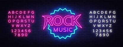 摇滚乐传染媒介氖 摇滚乐霓虹灯广告,明亮的夜标志,轻的横幅,霓虹夜实况音乐促进 向量例证