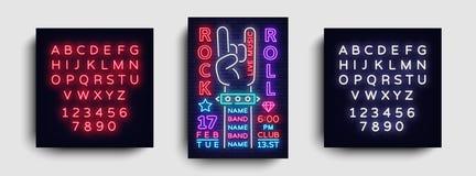 摇滚乐夜党飞行物设计模板 摇滚乐霓虹灯广告,轻的横幅,设计摇滚乐音乐会邀请 向量例证