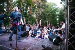 摇滚小组` Chumatsky Shlyakh ` 2017年6月10的表现日在切尔卡瑟,乌克兰 免版税库存照片