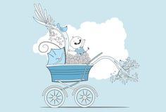 摇篮车的愉快的婴孩 免版税库存图片