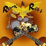 摇滚乐与自行车的鼓成套工具 图库摄影