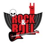 摇滚乐商标 电吉他和头骨 恋人的o商标 库存图片