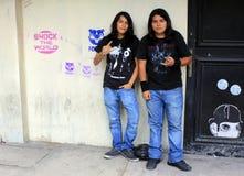 摇滚乐热心者在墨西哥城 免版税库存照片