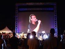 摇滚乐队布什在舞台使用在晚上 免版税库存图片