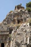 摇滚删节的坟茔在迈拉,代姆雷,土耳其,场面8 免版税库存图片
