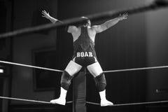 摇头的摔跤手 库存照片