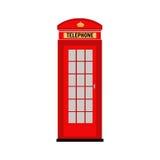摊伦敦红色电话 向量 例证 在白色背景的平的象 免版税库存照片