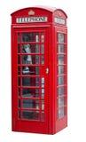 摊查出的伦敦红色电话白色 图库摄影