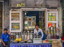摊贩在乔德普尔城,印度 库存照片