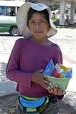年轻摊贩画象在城市圣诞老人  库存照片
