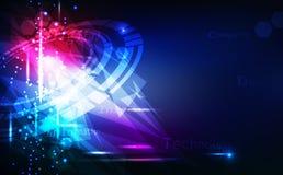 摘要、technoloy背景、数字三角和圆环,玻璃水晶与光线影响传染媒介的镜子创造性的设计 向量例证