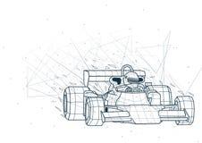 摘要一级方程式赛车低多Wireframe 皇族释放例证