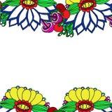 摘要与一朵大花的被绘的边界 免版税库存照片