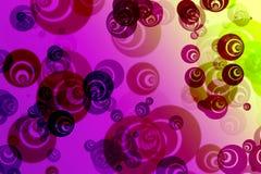 摘要与明亮的五颜六色的分数维样式的被弄脏的桃红色背景以泡影,幻想圈子的形式 皇族释放例证
