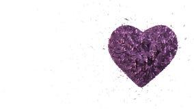 摘要使成环的生气蓬勃的背景:转动的光亮3d紫心勋章形成了片断和立方体紫罗兰色转动 向量例证