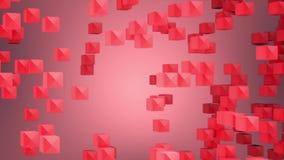 摘要使根据水晶红玫瑰色桃红色立方体的运动的生气蓬勃的背景成环会集和瓦解入w的  库存例证