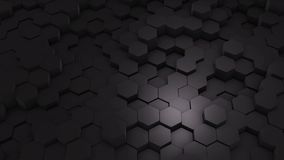 摘要六角形几何介绍 生气蓬勃的表面圈英尺长度 黑暗的六角网格图形背景,任意地挥动 影视素材