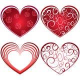 摘要四红色心脏形状 免版税库存照片