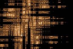 摘要在黑背景,元素设计的几何棕色和橙色样式  图库摄影