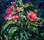 摘要开花红色 抽象画布五颜六色的用花装饰的油原始绘画 免版税库存照片