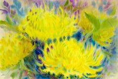 摘要开花水彩原始的绘画五颜六色秀丽chrysantemum花 库存照片