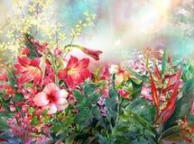 摘要开花水彩绘画 多彩多姿的春天 皇族释放例证