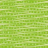 摘要手拉的波浪乱画线和小点在任意安置设计 在充满活力的绿色的传染媒介无缝的样式 皇族释放例证