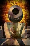 摘要接近在被伪装的颜色的军事坦克在桶下 库存照片