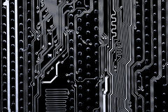 摘要接近电子线路在技术在Mainboard计算机背景 免版税图库摄影