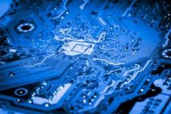 摘要接近电子线路在技术在Mainboard计算机背景 库存图片