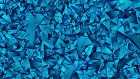摘要明亮的蓝色低多技术录影动画 向量例证