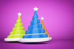 摘要欢乐螺旋圣诞树由与星的丝带做成 3d回报在紫罗兰色背景的例证 免版税库存照片