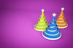 摘要欢乐螺旋圣诞树由与星的丝带做成 3d回报在紫罗兰色背景的例证 免版税图库摄影