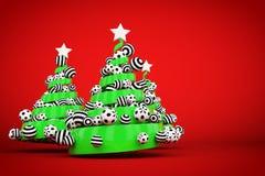 摘要欢乐螺旋圣诞树由与被加点的和镶边xmas球的绿色丝带制成 3d例证回报 免版税库存照片