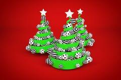 摘要欢乐螺旋圣诞树由与被加点的和镶边xmas球的绿色丝带制成 3d例证回报 免版税库存图片