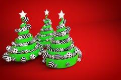 摘要欢乐螺旋圣诞树由与被加点的和镶边xmas球的绿色丝带制成 3d例证回报 图库摄影