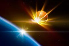 摘要炫耀背景,发光的篮球方法行星 图库摄影