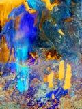 摘要蓝绿色橙色大理石纹理,丙烯酸酯时髦艺术 图库摄影