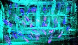 摘要蓝绿色背景油漆图画 向量例证