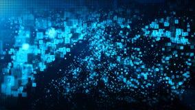 摘要蓝色数字微粒挥动与尘土和数字背景 皇族释放例证