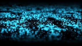 摘要蓝色数字微粒挥动与尘土和数字背景 向量例证