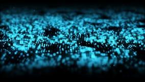 摘要蓝色数字微粒挥动与尘土和数字背景 库存例证