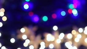 摘要被弄脏的圣诞灯Bokeh背景 影视素材