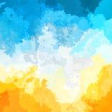 摘要被弄脏的方形的背景晴朗的黄色天蓝色白色云彩颜色-现代绘画艺术-水彩 库存例证