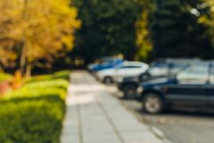 摘要迷离室外汽车停车场 免版税库存图片